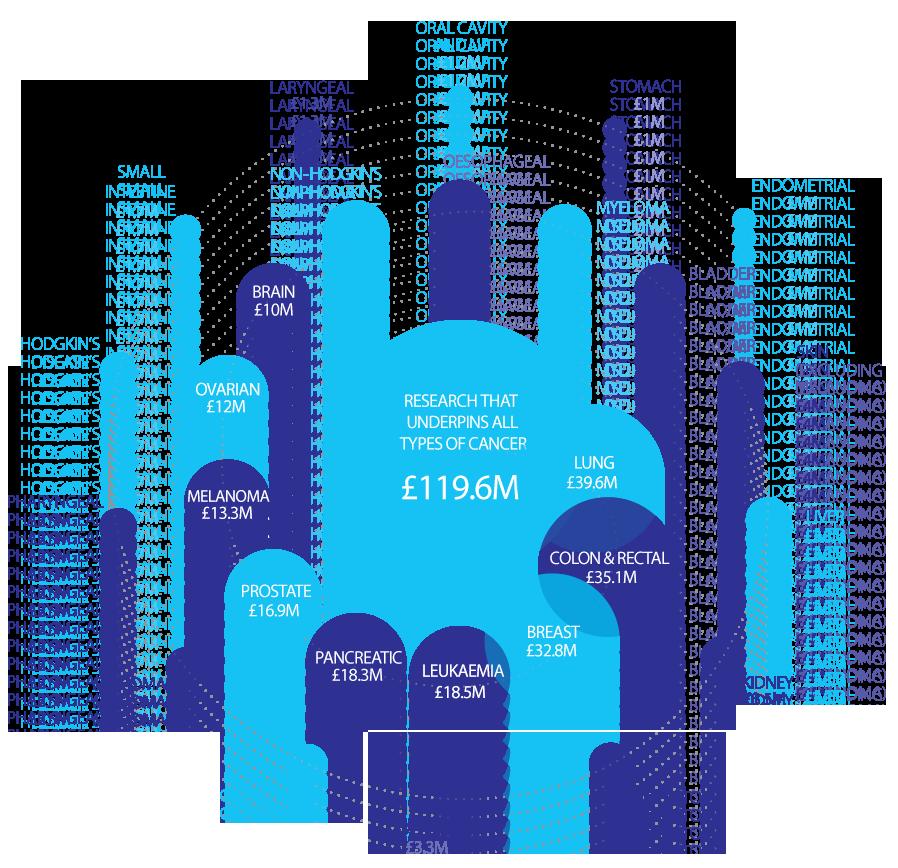 Funding by disease type 2015/16 diagram