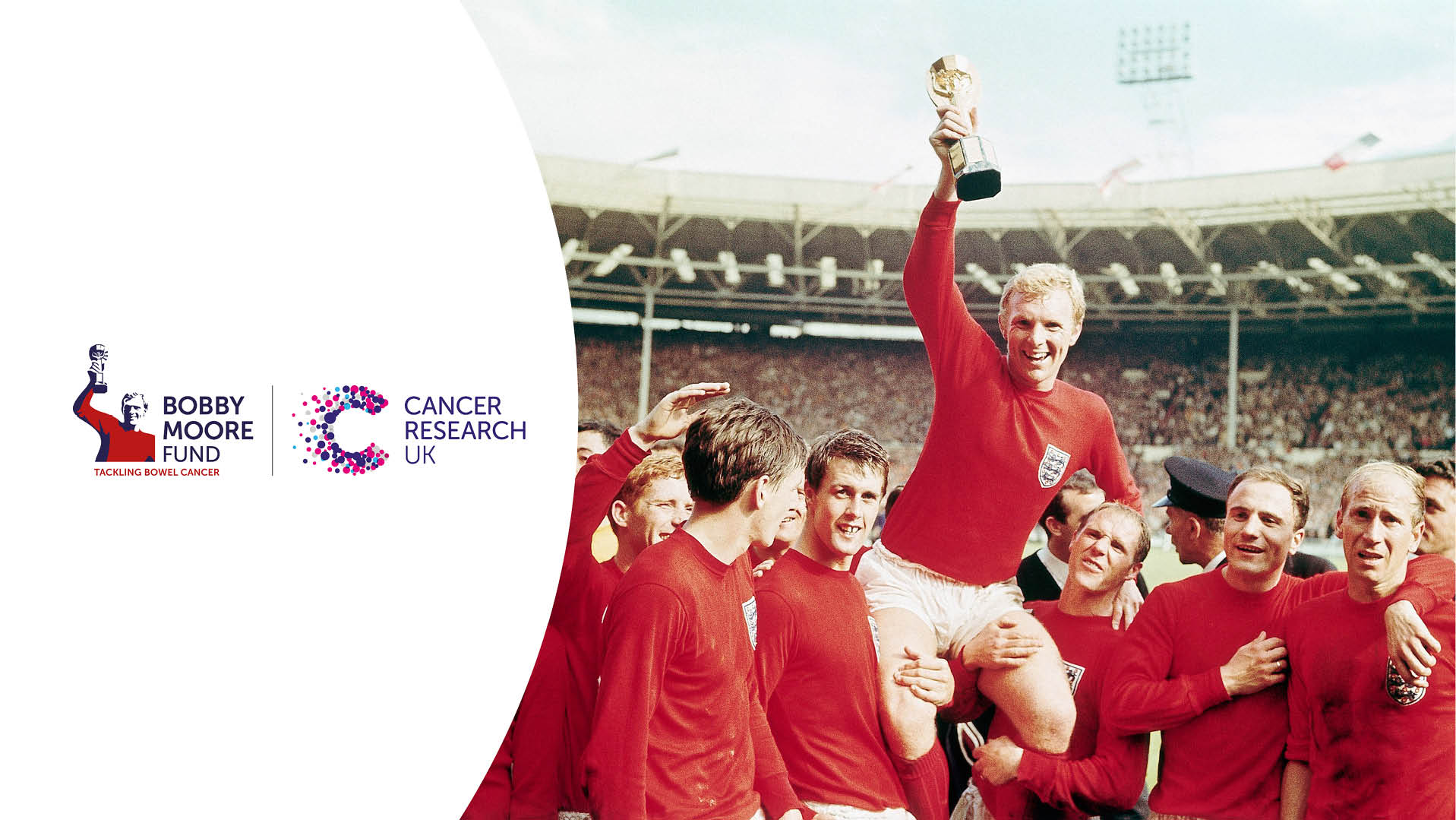 CRUK and Bobby Moore Fund logos alongside image of Bobby Moore lifting a trophy