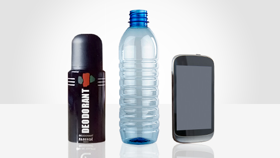 deoderant, plastic bottle, mobile phone