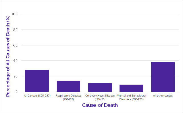 Bar chart of percentages of all causes of death