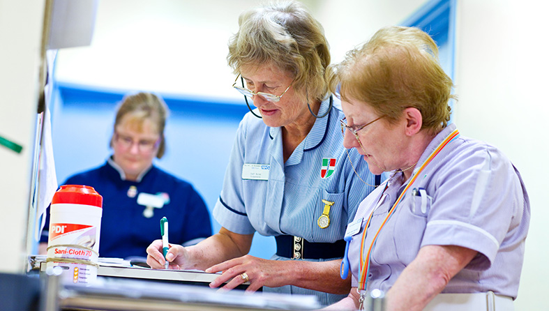 Nurses going through patient notes