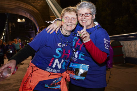 Two ladies enjoying Shine Night Walk 2016