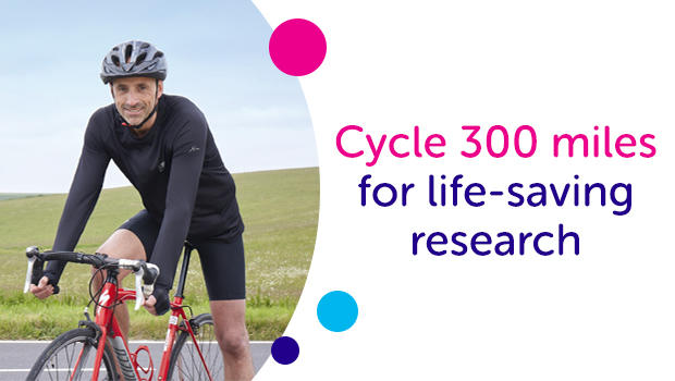 Image of a cyclist next to the text 'Cycle 330 miles for live-saving research'