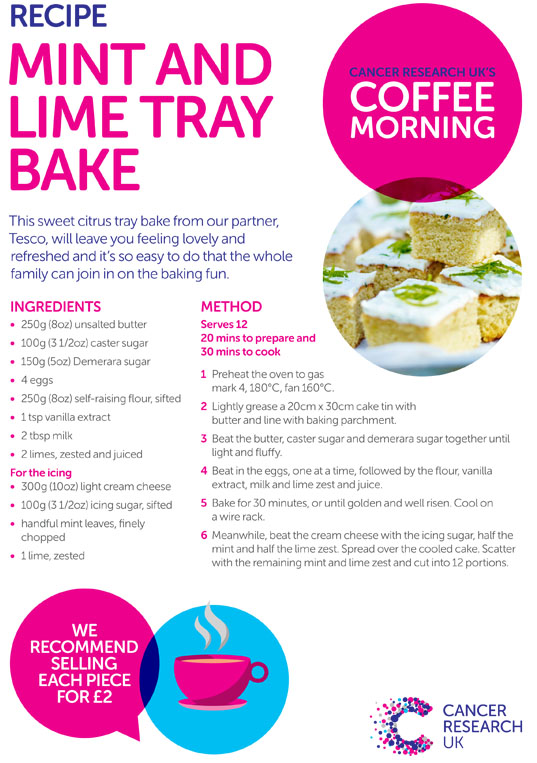 Coffee Morning Mint and Lime tray bake recipe thumbnail