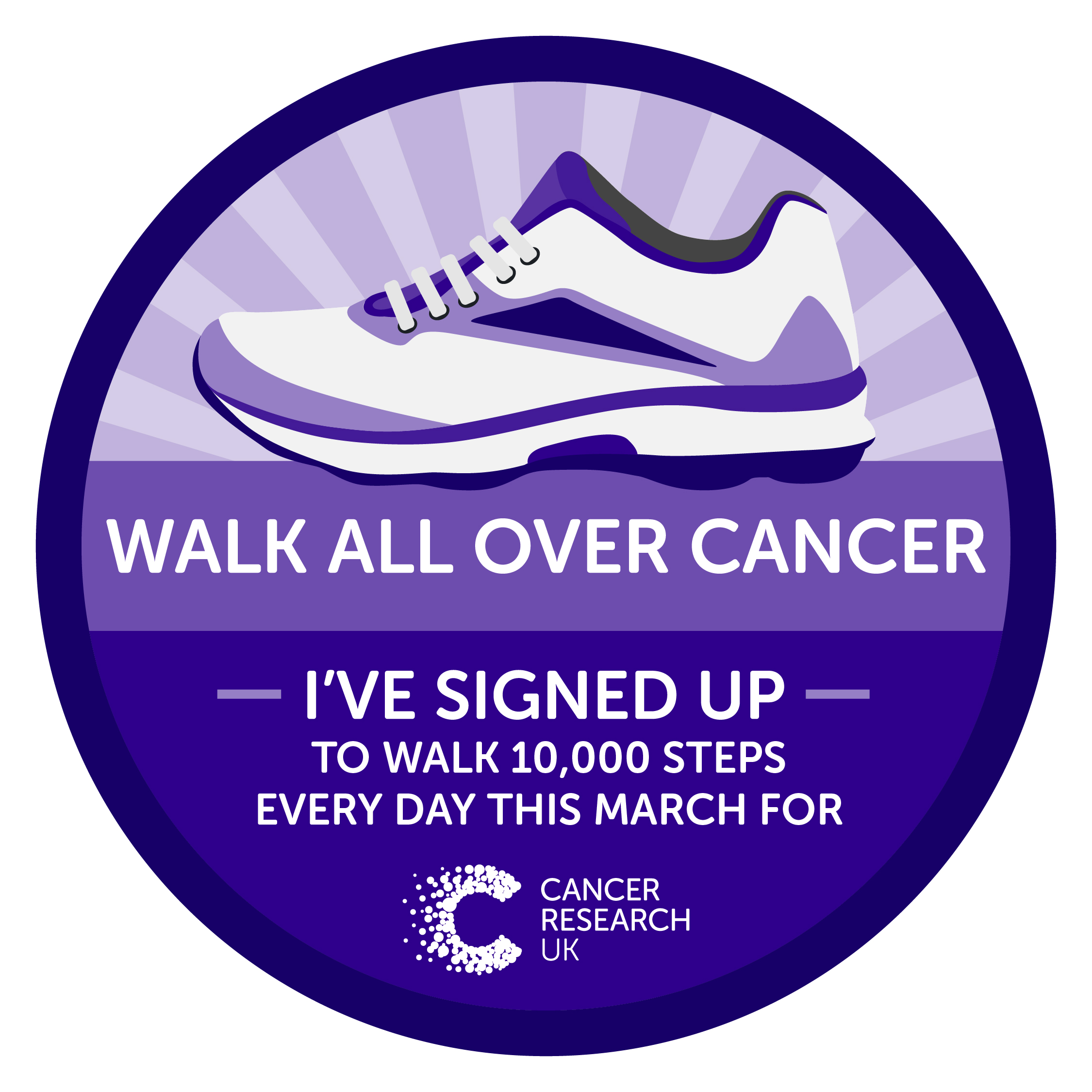 March walk all over cancer badge