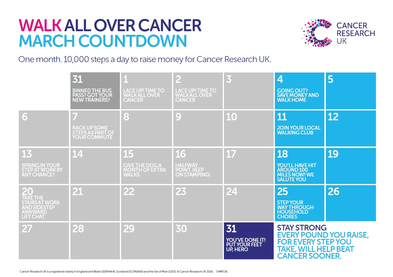 walk all over cancer calendar