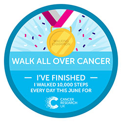 Walk All Over Cancer Finishers Badge