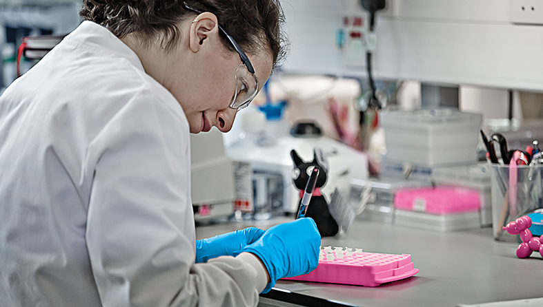 Scientist labelling samples