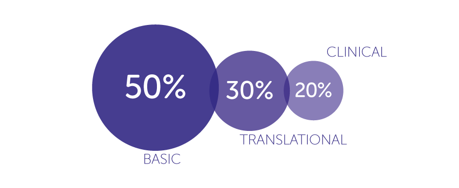 Funding by research pipeline: 50% basic, 30% transnational, 20% clinical