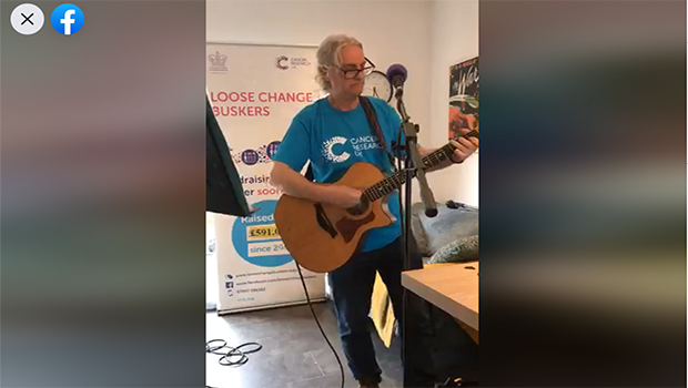 loose change buskers member performing live on Facebook