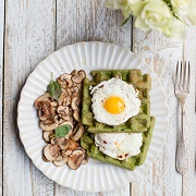Madeleine Shaw Spinach Waffles with Fried Eggs and Mushrooms
