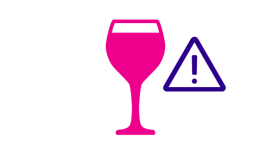 graphic of wine glass and warning sign