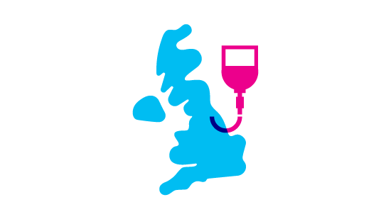 UK map and blood drip bag icon