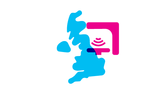 Uk map and a symbol for radiotherapy