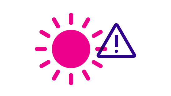 graphic depicting a sun and a warning triangle