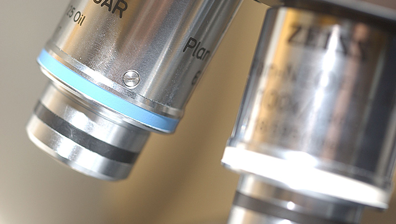 Close-up image of a microscope