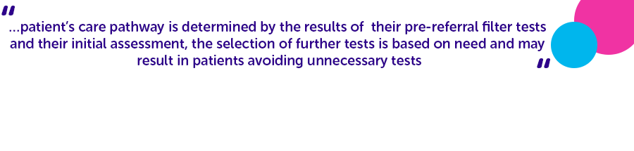 '…patient's care pathway is determined by the results of their pre-referral filter tests and their initial assessment, the selection of further tests is based on need and may result in patients avoiding unnecessary tests''