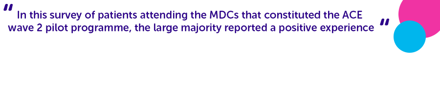 ''In this survey of patients attending the MDCs that constituted the ACE wave 2 pilot programme, the large majority reported a positive experience''