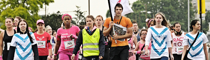 Volunteers at a Race For Life event