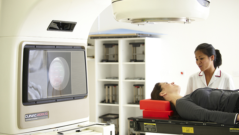 Patient being given radiotherapy