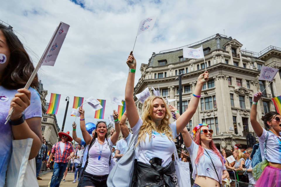 Cancer Research UK supporters having fun at Pride in London