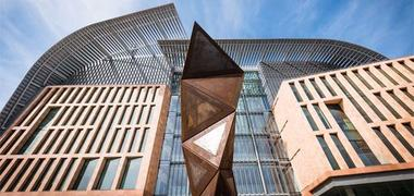 A geometric sculpture outside the Francis Crick Institute