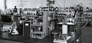A black and white image of an old laboratory