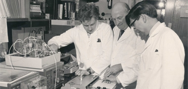 Scientists in an old laboratory
