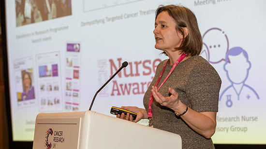 Anne Croudass speaking at excellence in research event