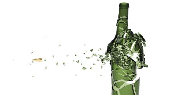 Cracked alcohol bottle