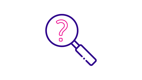 Icon of a magnifying glass and a question mark