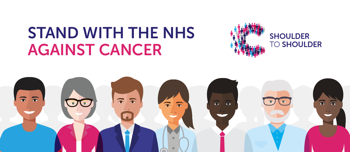 Shoulder to Shoulder Against Cancer Campaign. Healthcare staff cartoon images standing shoulder to shoulder next to each other