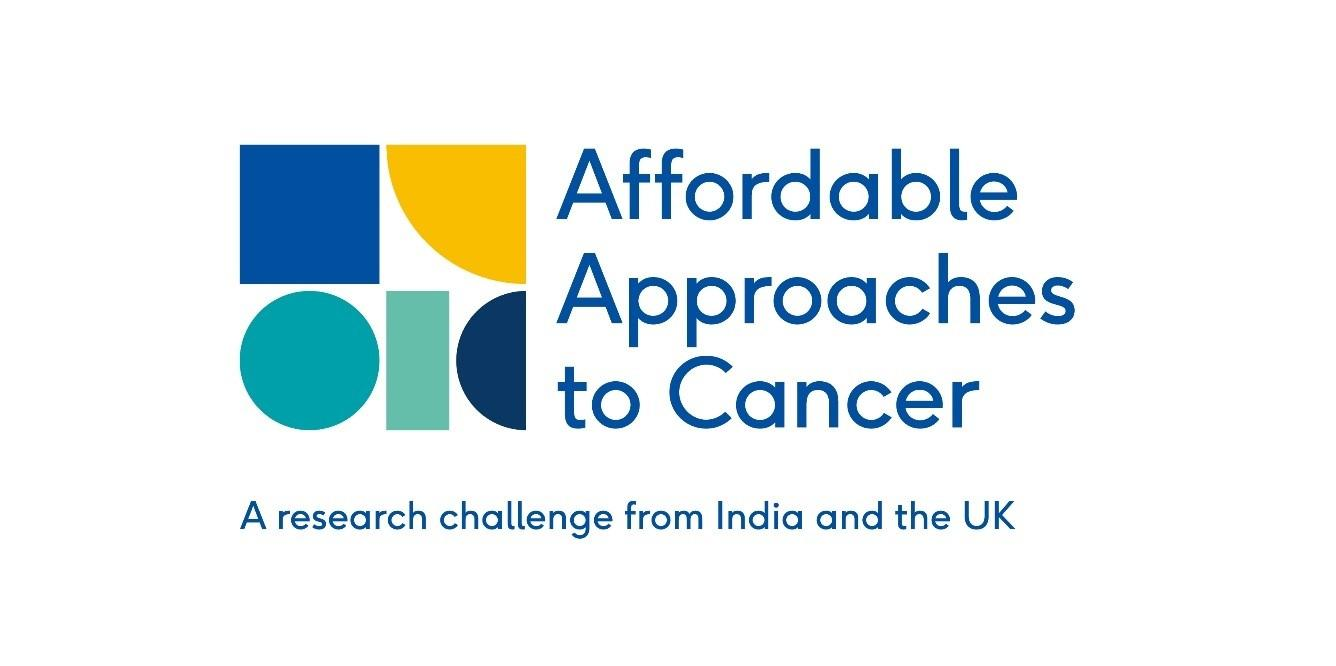 Affordable Approaches to Cancer logo highlights the UK and India research challenge