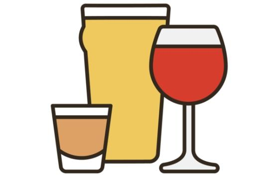 An illustration of alcoholic drinks