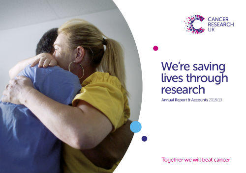 Two people hugging with text next to it saying we're saving lives through research