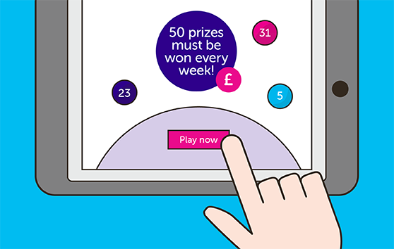Person playing lottery on iPad