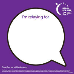 Relay For Life back sign