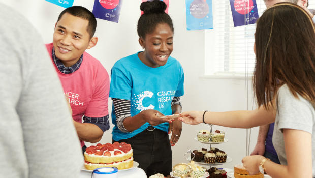 Fundraisers putting on a bake sale