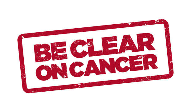 Be Clear on Cancer logo for blood in pee campaign