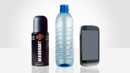 deoderant, plastic bottle and mobile phone