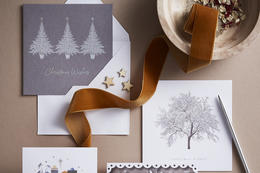 Christmas cards on a desk