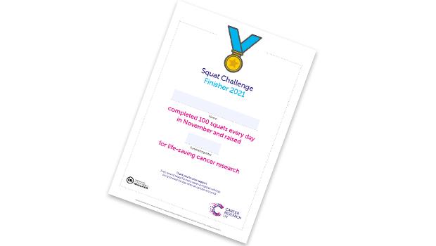 Squat challenge certificate