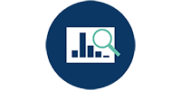 Challenge 1 prevention icon - a data chart with magnifying glass