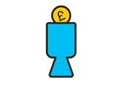 Blue donation bucket icon.
