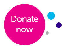 A banner with the CRUK logo and a message saying donate now