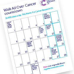 Walk All Over Cancer calendar