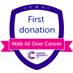 Walk All Over Cancer first donation