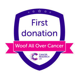 Woof All Over Cancer first donation