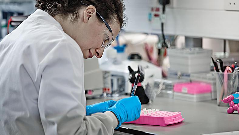 Scientist labelling samples