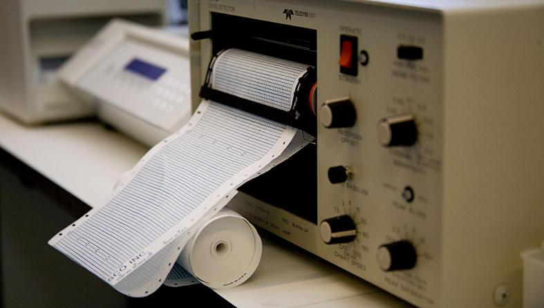 Laboratory machine producing a printout